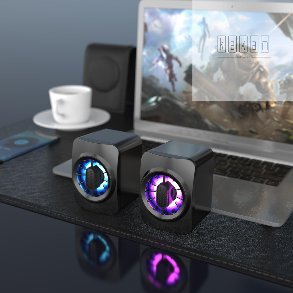 A1 Computer Speaker Portable Mini RGB Speaker USB Powered 3.5mm Wired Sound Box 6W Subwoofer Volume Control for Laptop Desktop Computer Tablet PC Smar
