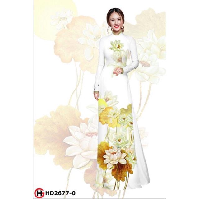 Vải áo dài hoa sen 2677