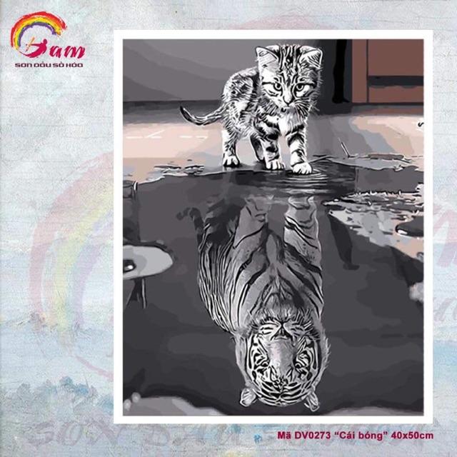 Tranh sơn dầu số hoá DIY tự vẽ - Mã DV0273 Cái bóng