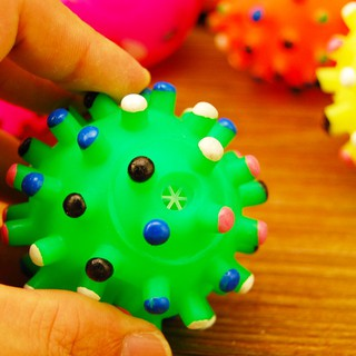 Colorful rubber vocal sea urchin ball smiley ball squeaky rubber ball elastic ba