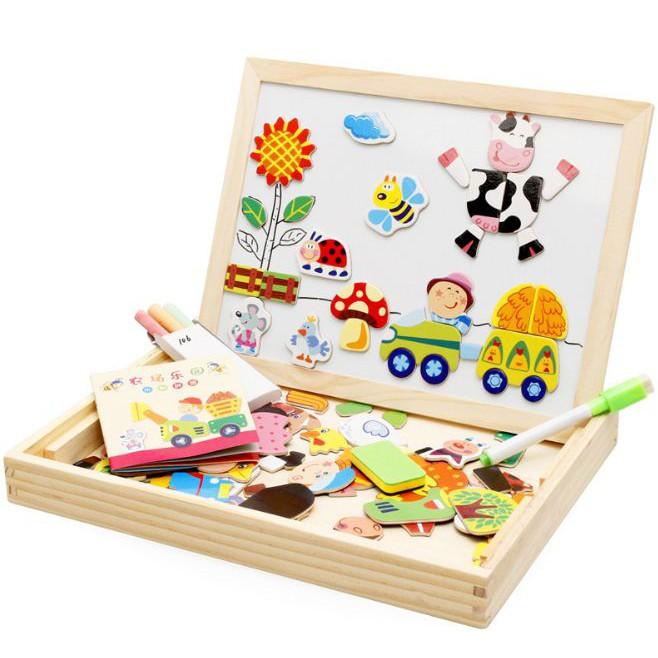 Đồ chơi giáo dục Trang trại bằng gỗ từ chính tả âm nhạc hai mặt bảng câu đố trẻ em