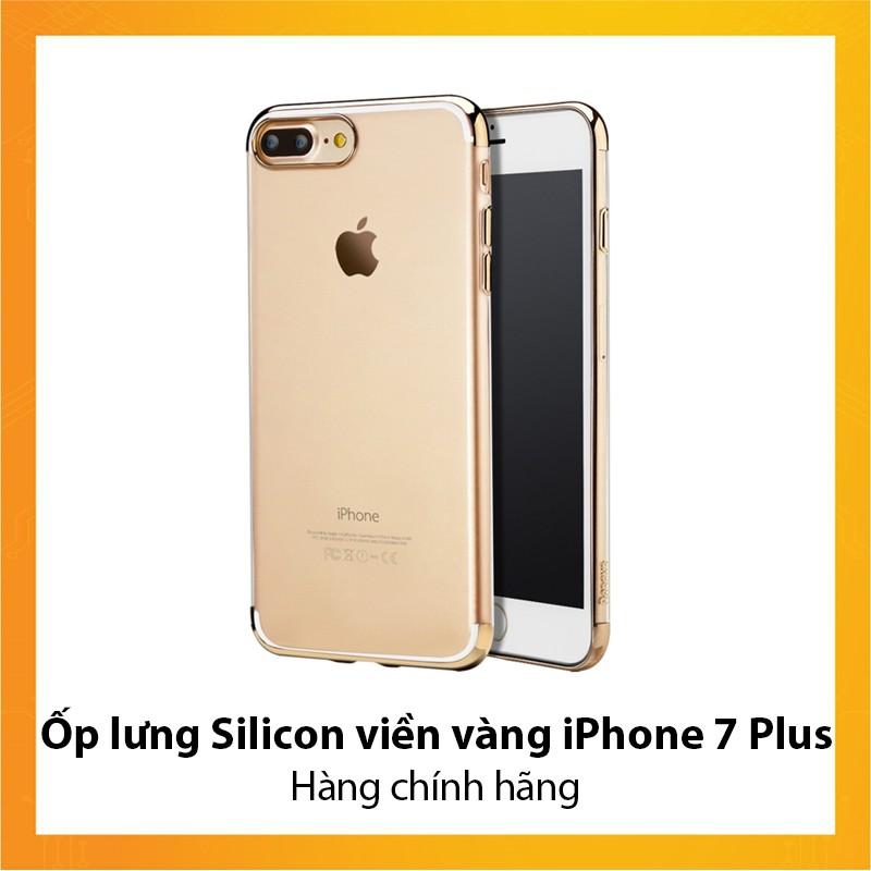 Ốp lưng dẻo Viền vàng iPhone 7 Plus - Hàng chính hãng