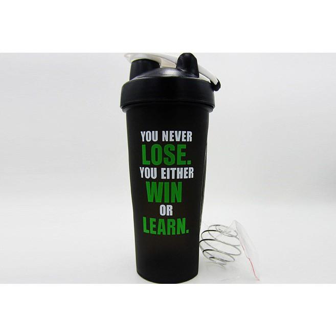 Bình nước lắc thể thao Protein Shaker Sports 600ml Màu Đen
