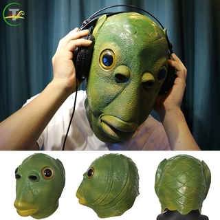 TG Creepy Party Halloween Costume Party Latex Headgear Carp Face Cover Horror Green Fish Face Cover @vn