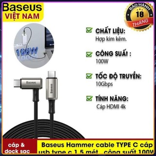 Cáp USB Baseus Hammer Cable TYPE C 1.5 Mét , Công Suất 100W Tốc Độ Truyền Tải 10Gbps. Cho Macbook Ipad Pro