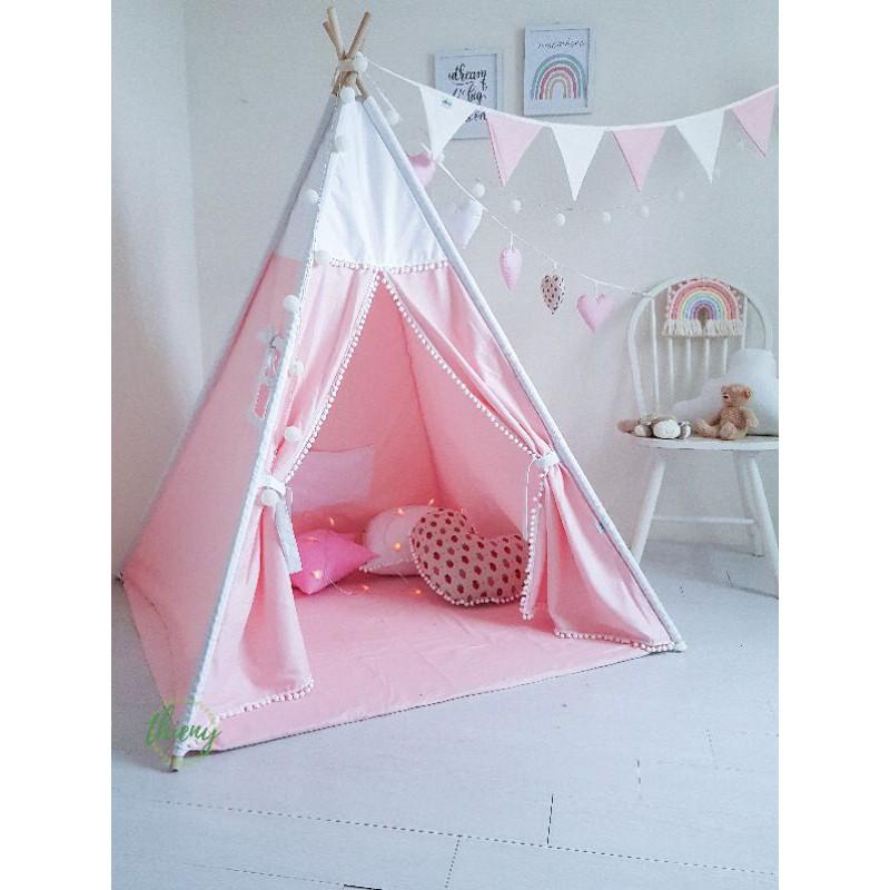 Lều vải cho bé gái màu hồng, vải kaki cotton 100% Lều vải Thiên Ý tự sản xuất Hình ảnh tự chụp