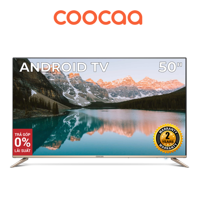 Android SMART TV 4K UHD Coocaa 50 inch Wifi tivi- viền mỏng - Model 50S5G (Vàng)