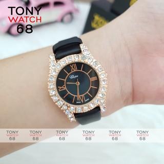 Đồng hồ nữ Chopa dây da đẹp viền đính đá sang trọng chống nước chính hãng Tony Watch 68 thumbnail