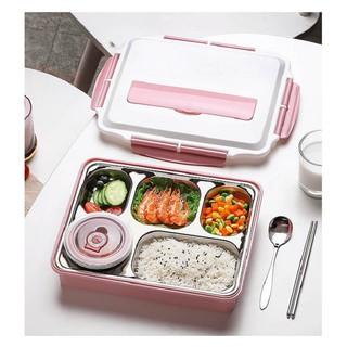 Khay cơm lunch box 5 ô kèm thìa đũa