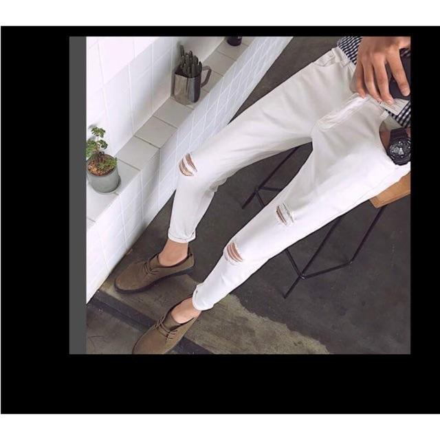 Quần jean trắng rách kiểu