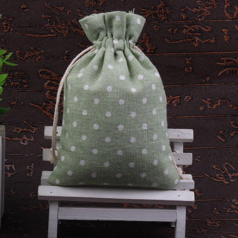 9x12cm - Túi thơm, túi trang sức, túi tiện lợi, túi đựng tiền, túi vải, túi mini, túi dây rút, túi nhỏ chấm bi xanh nhạt