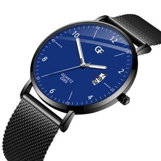 Đồng hồ nam GF cao cấp chạy lịch ngày dây thép lụa đen mặt mỏng lịch lãm GF69