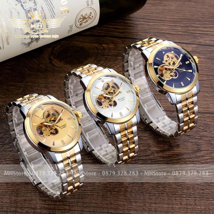 Đồng hồ cơ nam Byino ✳️FreeShip✳️ Dây thép không gỉ, đồng hồ cơ lộ máy ✳️ Hàng chính hãng, BH 12 tháng