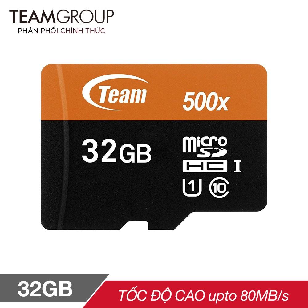 Thẻ nhớ micro SDHC Team 32GB 500x upto 80MB/s class 10 U1 (Đen cam) - Hãng phân phối chính thức
