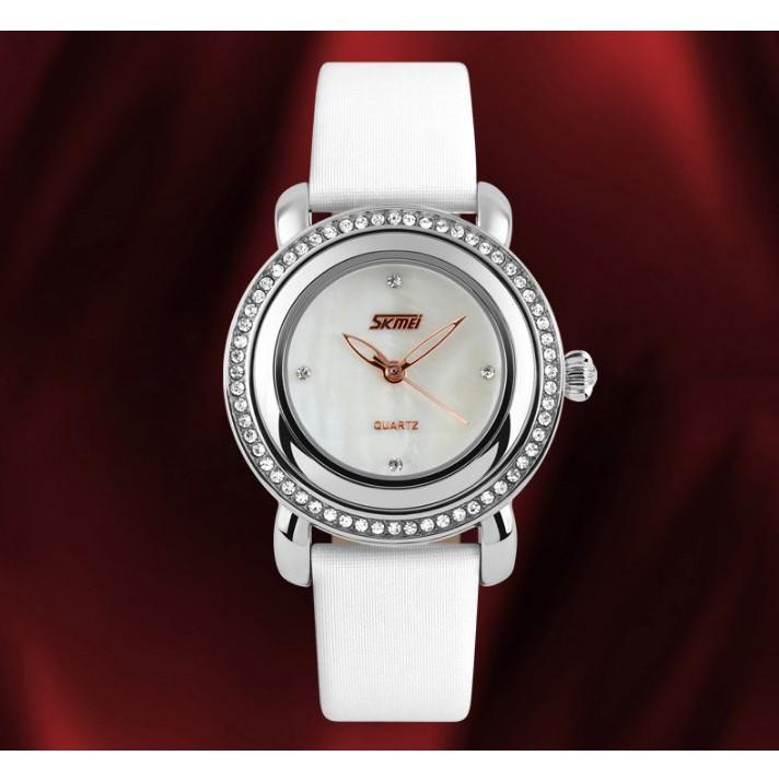 Đồng hồ nữ dây da viền đá Skmei-9093 mã DHN9093