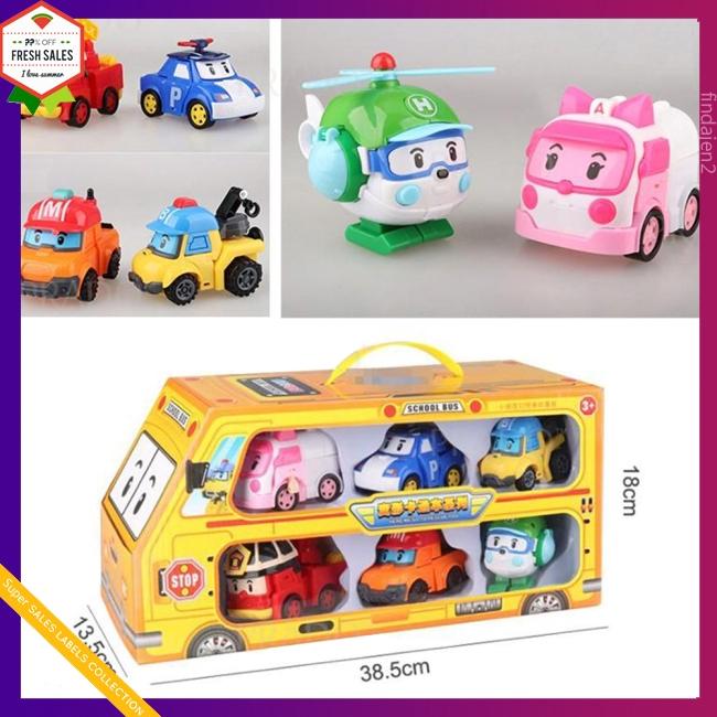 6 in 1 Korean Animation Cartoon Robocar Poli Transformation Robot Car Toys Set