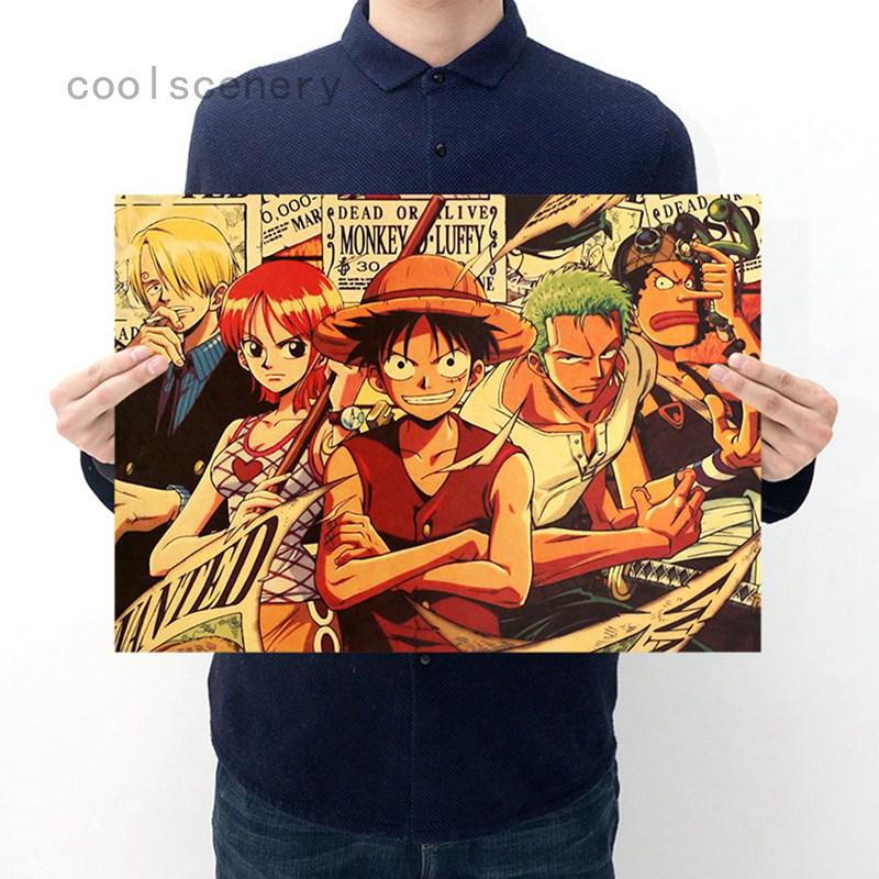 1 Tấm Poster Vẽ Hình Nhân Vật Anime One Piece