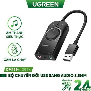 Bộ chuyển đổi âm thanh từ USB sang 3 cổng 3.5mm UGREEN CM129, Chip SSS1629 DAC 48KHz/16bit