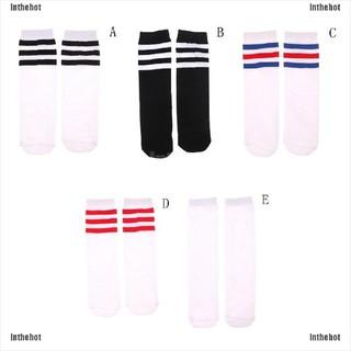 Inthehot☆ Kids Knee High Socks Girls Boys Football Stripes Cotton Sports School Skate Sock