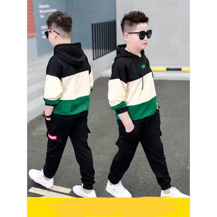 Sét bộ quần áo thu đông trẻ em có mũ dành cho bé trai 6-10 tuổi