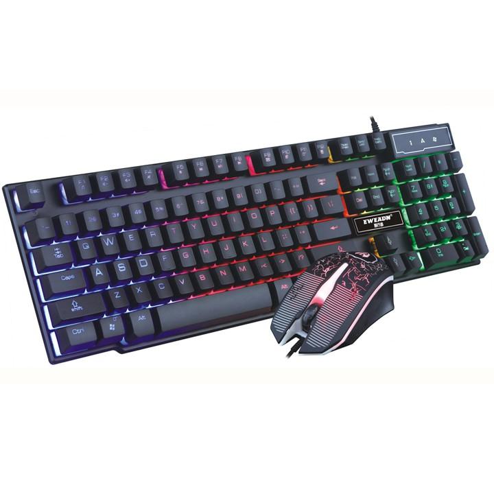 ?Free Ship? Bộ bàn phím giả cơ và chuột chuyên game Eweadn KMX-50 Led 7 màu (Đen)