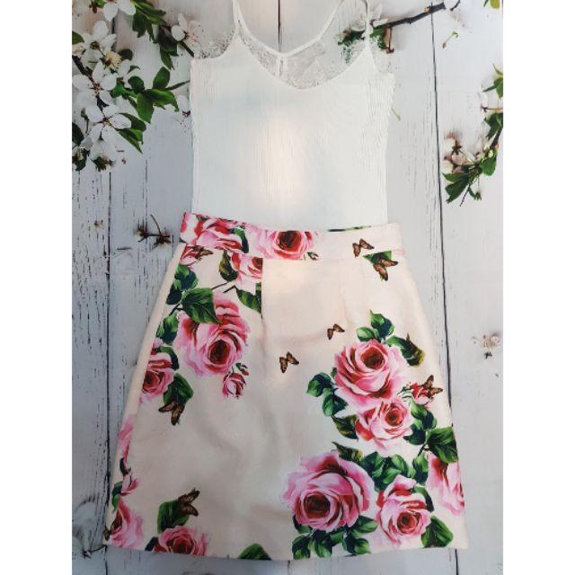 1234296349 - Chân váy hoa hồng