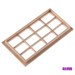 [DOU]1:12 Dollhouse Miniature Wooden 12-pane Window Frame Model Accessories Toys