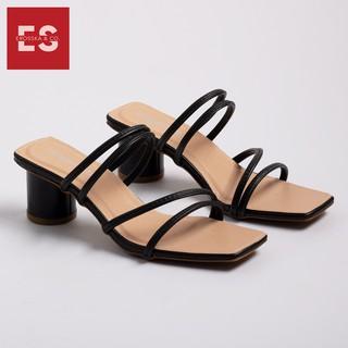Hình ảnh Dép cao gót Erosska thời trang mũi vuông phối dây quai mảnh cao 5cm màu kem _ EM038-2
