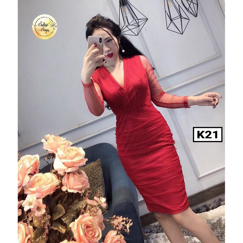 [SHOPBTN40 giảm 40k] Váy đầm K20 Đỏ - Hàng thiết kế (4 MÀU)