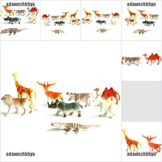 [adawnshbhyu]8PCS Plastic Zoo Animal Figure Tiger Leopard Hippo Giraffe Kids Ani