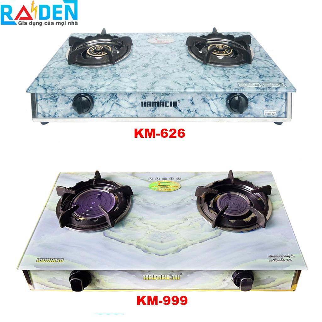 Bếp ga đôi kiếng cường lực đầu đốt đồng KAMACHI KM-626 màu H/E/M