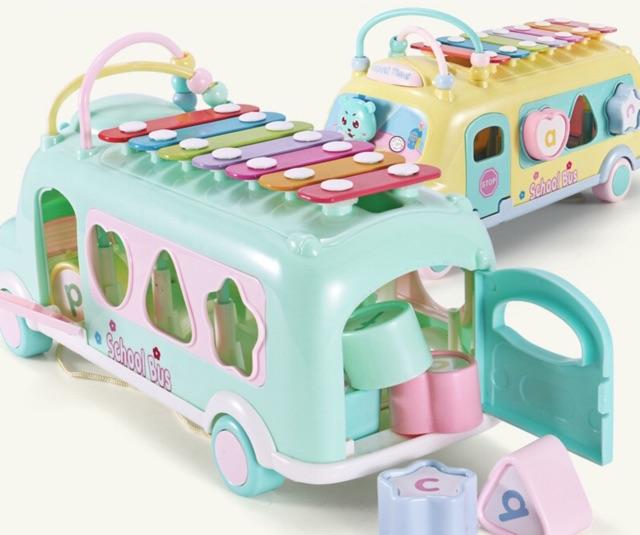 Đồ chơi ô tô kéo đàn gõ - xe bus thả hình khối kèm đàn gõ