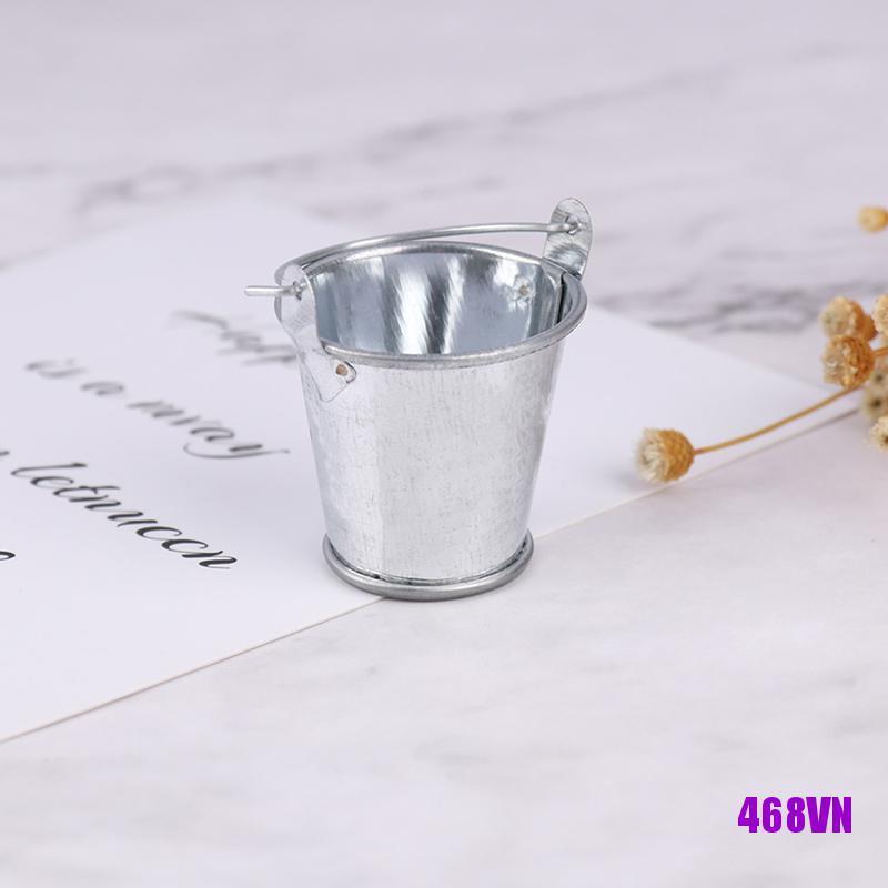 [DOU]1/6 1/12 Dollhouse Miniature Metal Bucket Mini Kitchen Decor Pretnd Play Toy