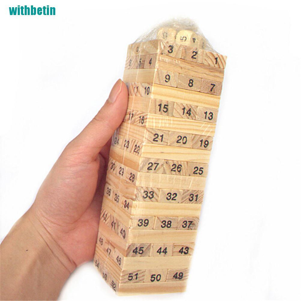 【withbetin】54Digital Layers Stacked High Building Blocks Leisure Wooden kids Gift Toys