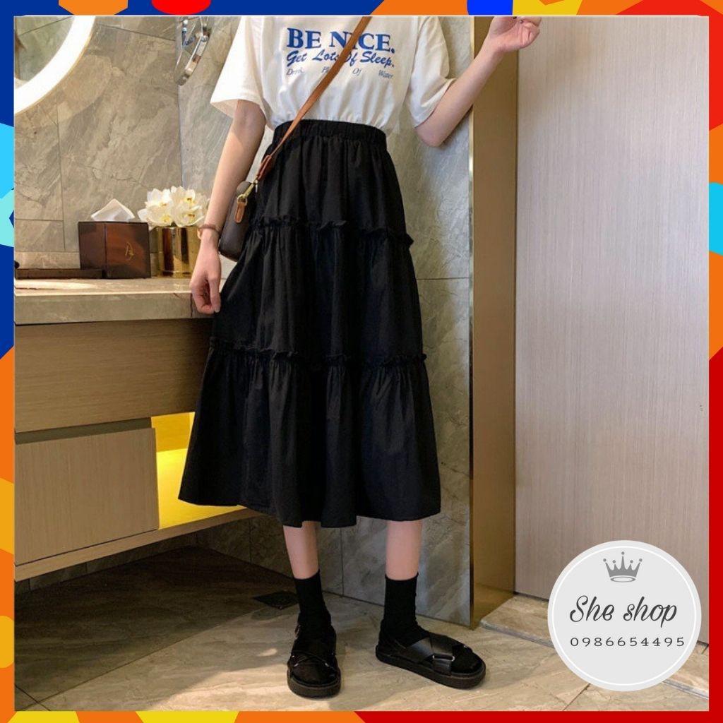 [Mã FAGREEN55 giảm tới 30K đơn 99K] Chân váy dài, Chân váy dài 3 tầng xoè kiểu dáng năng động, trẻ trung