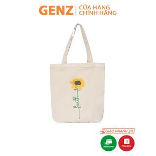 Túi tote GENZ vải canvas ulzzang unisex in hình Hoa Hướng Dương, vải bố mộc không nhuộm hóa chất - ZB009