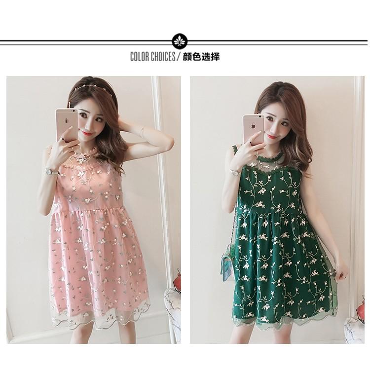Đầm bầu , váy bầu hiện đại phối ren nâng động phong cách HÀN QUỐC