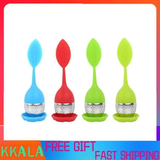 Kkala Leaf-shaped tea infuser set in silicone. Stainless steel strainer for loose with non-drip tray