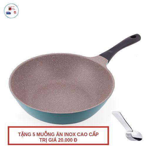 Chảo sâu lòng chống dính ILO Ceramic vân đá bếp từ 26cm/28cm tặng 5 muỗng ăn inox