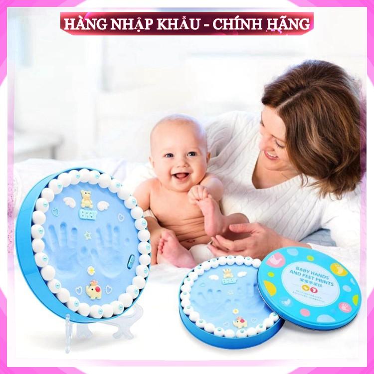 [ Hàng Loại 1 ] Bộ khung hộp in dấu vân chân tay chân cho bé sơ sinh lưu dữ kỷ niệm bằng đất sét