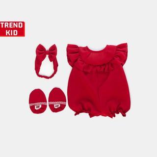 [Mã TREND20 giảm 15% đơn 99K] Bộ đồ jumpsuit cho bé gái trẻ sơ sinh màu đỏ Michley
