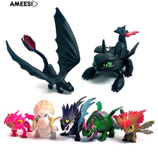 Ameesi 7/8Pcs PVC Action Figures How to Train Your Dragon2 Models Toothless Toys