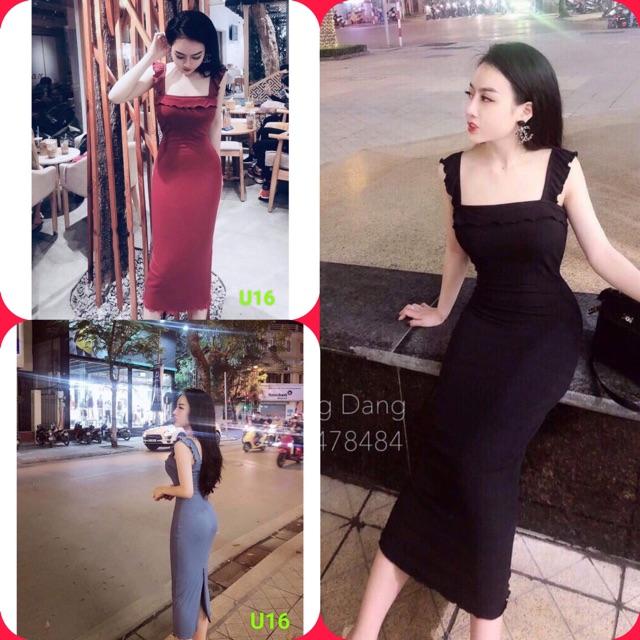 Đầm Body🌸 Váy body dáng dài cánh tiên, bánh bèo xẻ sau🌸