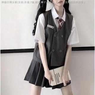 Bộ Áo Sơ Mi Trắng Dáng Rộng + Áo Vest + Chân Váy Xếp Ly Đáng Yêu Kiểu Hàn Quốc