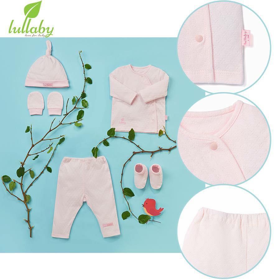 Bộ đồ cài vai lệch cho bé trai, bé gái Lullaby, tay dài, chất