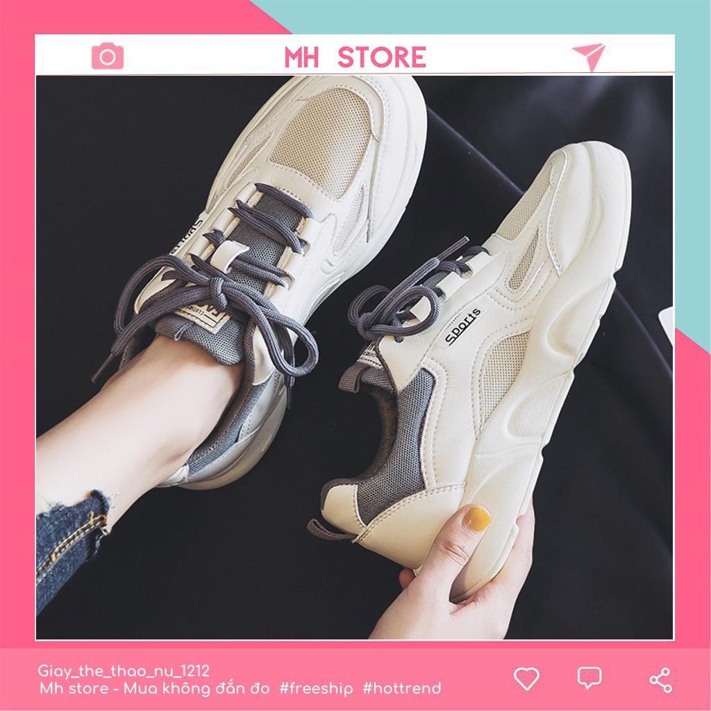 Giày thể thao nữ 💥 SUMMER COLLECTION 💥 Sneaker trắng với dây buộc nhiều màu tăng chiều cao phong cách cá tính G12