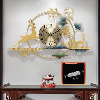 [QUÀ TẶNG LÀ 1 Đinh 4 Chân NHA BẠN dùng cho] Đồng Hồ Treo Tường Trang Trí Decor DC11 quartz hoa mai vàng nội thất cỡ lớn