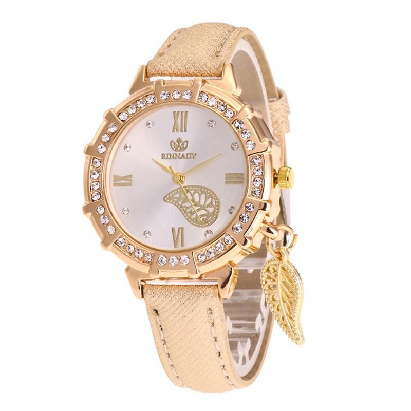 Women Quartz Watches Leaves Tower Rhinestone Pendant Leather Wrist Watch