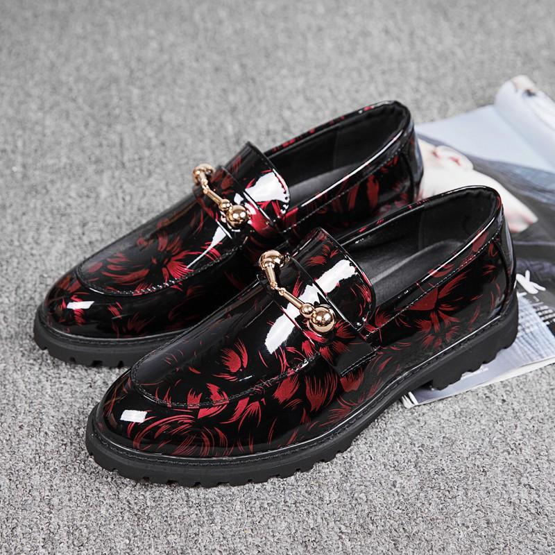 Giày lười nam cổ thấp in hoa lá thời trang doanh nhân
