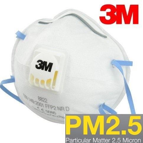 Hộp 10 khẩu trang chống bụi đô thị PM2.5, có van thở 3M 8822